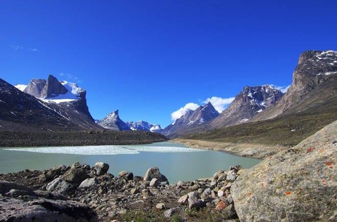 """Summit Lake marks the high point in Akshayuk Pass"""