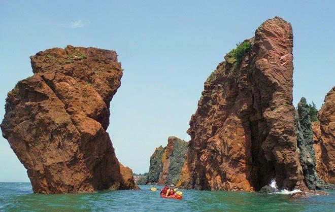 """Kayaking between the sisters at high tide"""