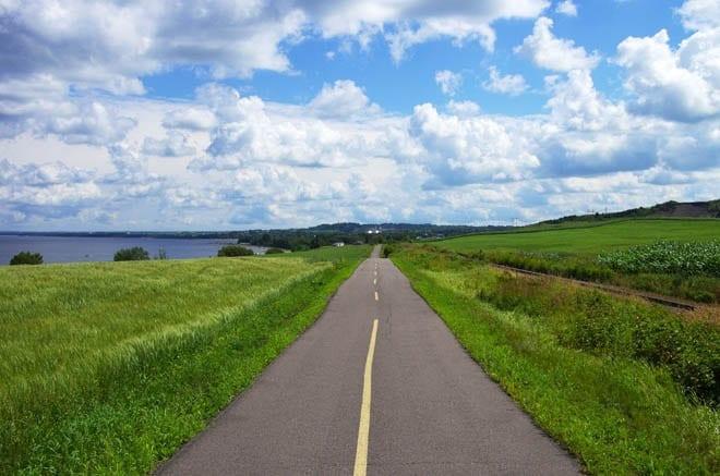 """An flat trail heading back towards Alma"""