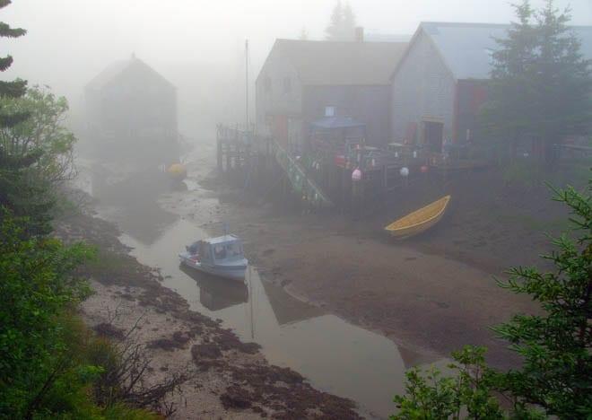 """Pea soup fog outside my cabin"""