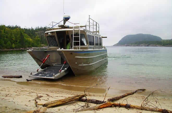 """The boat on the beach at North Swallow Harbour"""