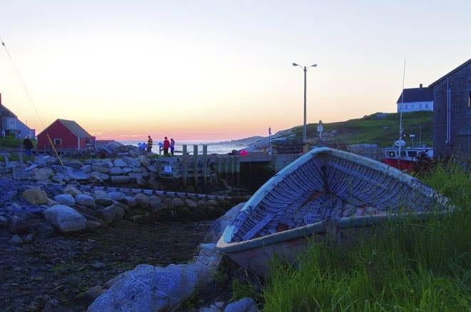 """Abandoned boat at dusk"""