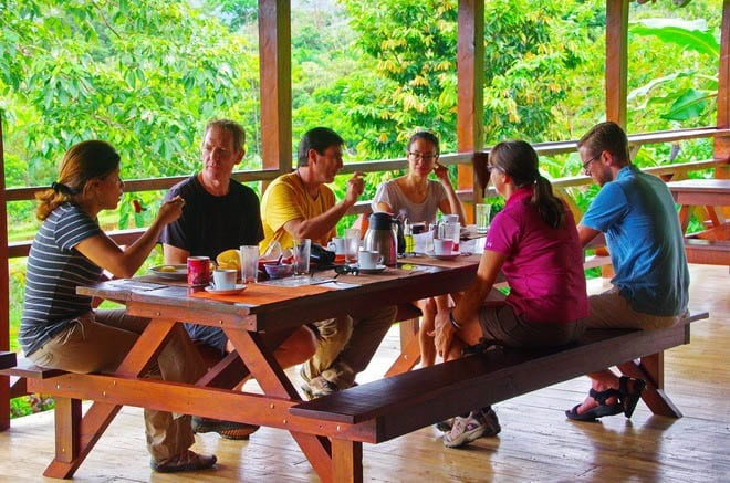 """Family style dining with a view at La Anita Rainforest Lodge"""