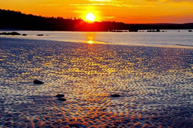 """sun setting in Thomas Randall Provincial Park, Nova Scotia"""