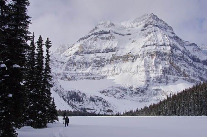 """Skiing alongside Shadow Lake"""
