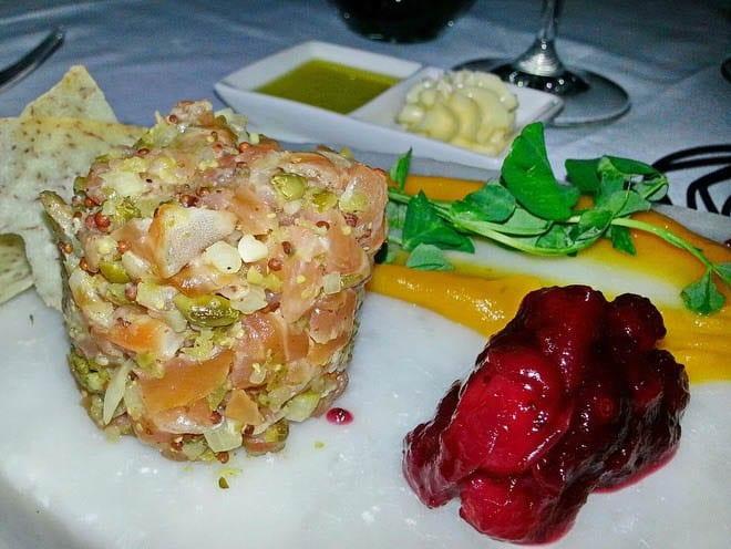 """The amuse bouche - a fantastic salmon tartar concoction"""