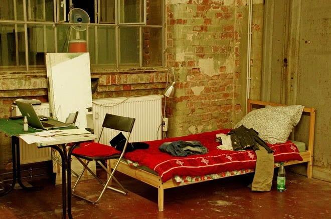 """Leipzig artist studio with bed"""