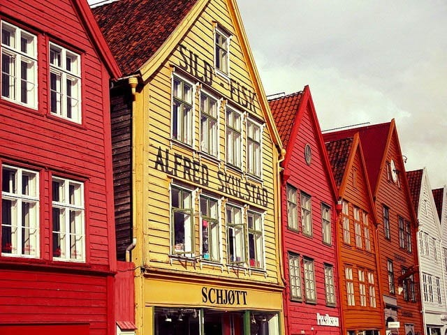 """Wonderful colours of these buildings in Bryggen"""