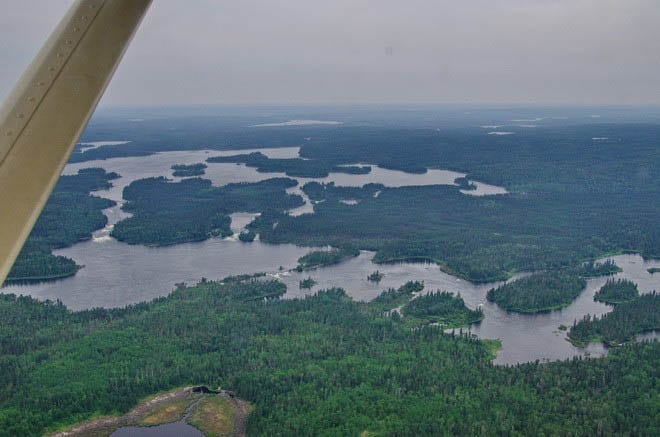 """The view of the Churchill River from the air"""