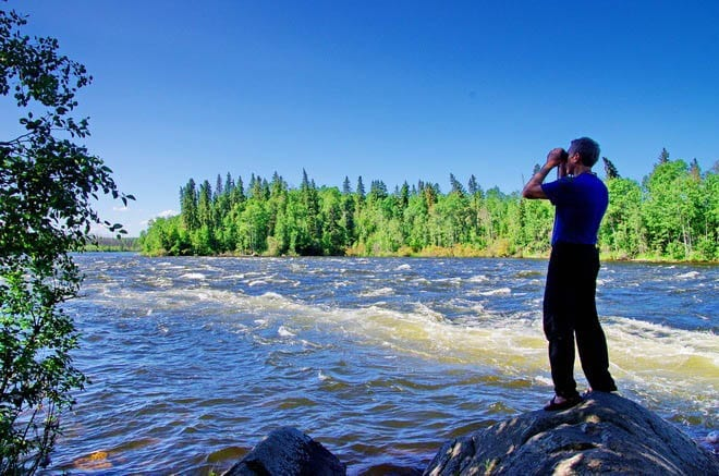 """Looking out at the last of Otter Rapids"""