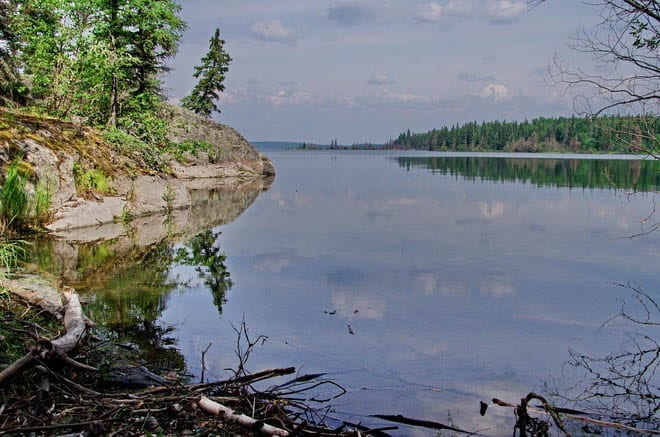 """View out to the lake at Nut Portage - the halfway point"""
