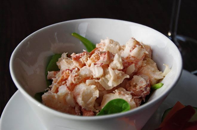 """The reward at the end of a hiking & kayaking day - lobster salad"""