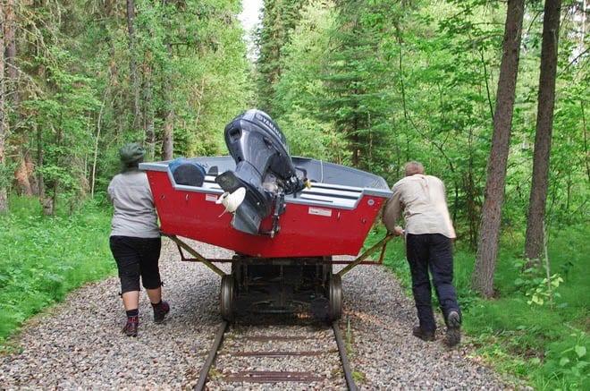 """""""A 1 km rail portage that ens on Kingsmere Lake"""""""