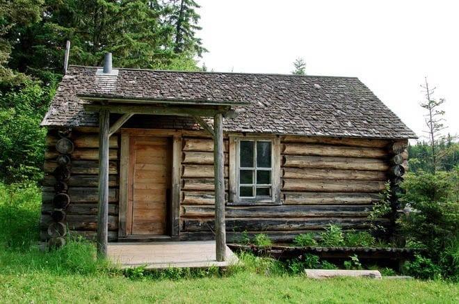 """Grey Owl's Cabin on Ajawaan Lake"""