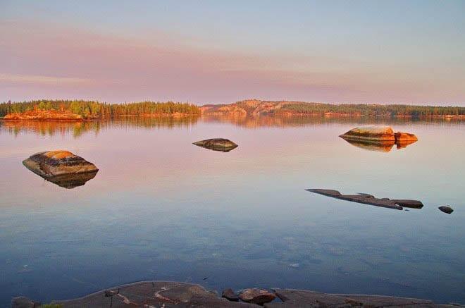 """evening light on Hidden Lake, NWT"""