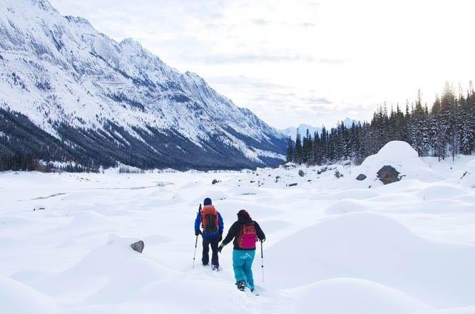 Snowshoeing through a jumble of boulders - Jasper National Park