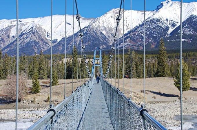 The long suspension bridge across the North Saskatchewan River