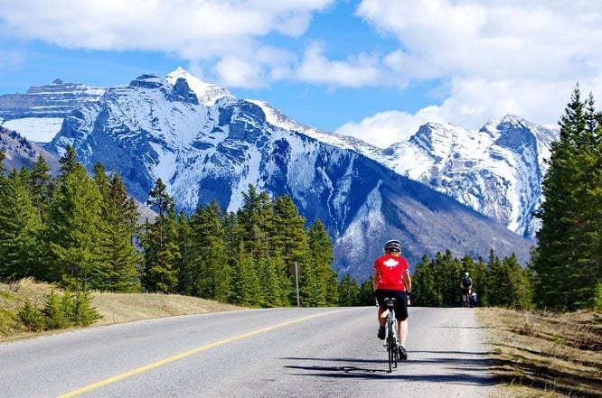 Cycling the road to Lake Minnewanka in Banff National Park