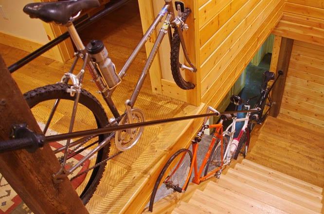 Bike banisters in the Whitefish Bike Retreat