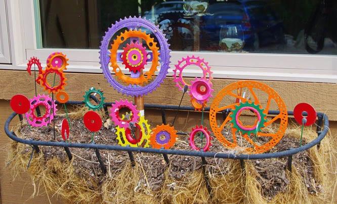 Colourful garden of bike parts - Whitefish Bike Retreat