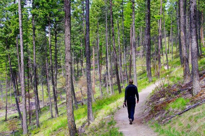 John and I exploring the Whitefish Trail on foot, Whitefish, Montana