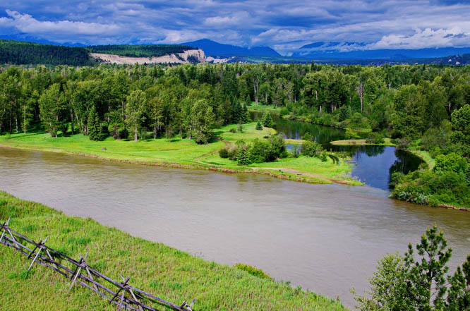 The Kootenay River from the water tower at Fort Steele, near Cranbrook