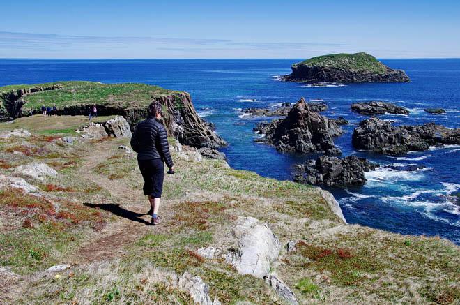 Hiking towards the puffin colony near Elliston, Newfoundland