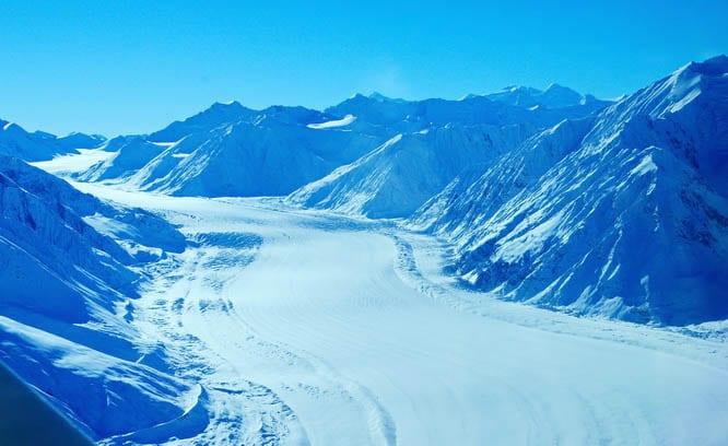 Massive glaciers are a common sight in Kluane