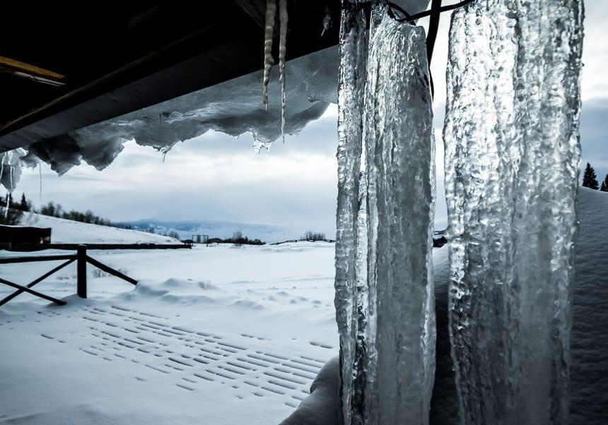 Looking through the icicles at Latigo Ranch in Colorado