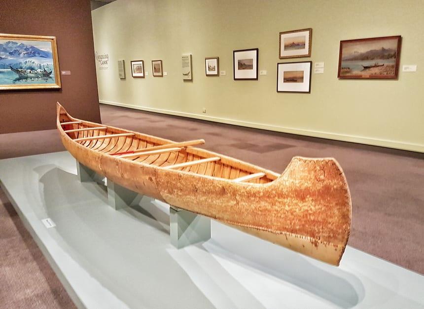 Beautiful birchbark canoe on display at the Glenbow